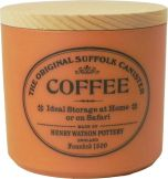 Coffee canister with beech lid in Terracotta