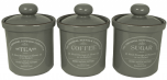 Original Suffolk Collection - Tea, Coffee & Sugar Canister Set - Slate Grey - Made in England - 12cm x 16cm