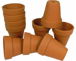 Pack of 10 Terracotta Plant pots, 8.5 cm in height x 8 cm in diameter