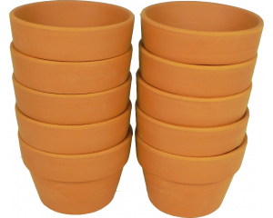Pack of 10 Terracotta Plant pots, 6.5 cm in height x 9 cm in diameter