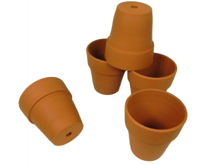 Pack of 5 Terracotta Plant pots, 10 cm in height x 9 cm in diameter