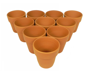 Pack of 10 Terracotta Plant pots, 10 cm in height x 9 cm in diameter