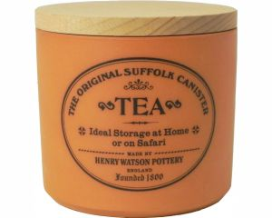 Tea canister with beech lid in Terracotta