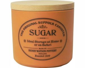 Sugar canister with beech lid in Terracotta