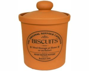 Original Suffolk Collection- Biscuit Jar - Terracotta-Made in England - 14.5cm x 15cm