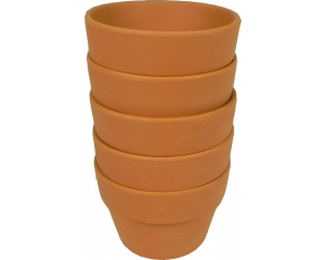 Pack of 5 Terracotta Plant pots, 6.5 cm in height x 9 cm in diameter