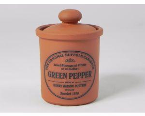Herb/Spice Jar in Terracotta - Green Pepper