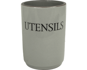 Text - Utensil Holder - Dove Grey - Made in England - 11cm x 15cm