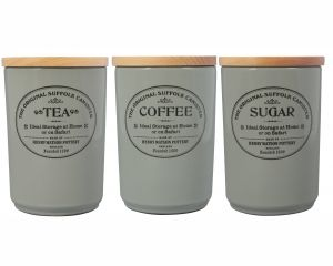 Original Suffolk Collection - Large Tea Coffee sugar Canister Set - Dove Grey - Made in England - 11cm x 16cm