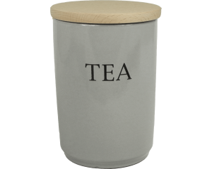 Text - Large Tea Jar - Dove Grey - Made in England - 11cm x 16cm
