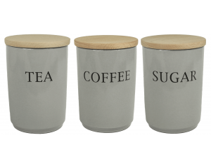 Text - Large Tea Coffee Sugar Canister Set - Dove Grey - Made in England - 11cm x 16cm