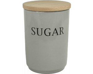 Text - Large Sugar Jar - Dove Grey - Made in England - 11cm x 16cm
