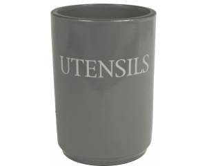 Text - Utensil Holder - Slate Grey - Made in England - 11cm x 15cm