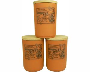 Suffolk Canister - Large Tea Coffee Sugar Canister Set - Terracotta - Made in England - 11cm x 16cm