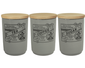 Suffolk Canister - Large Tea Coffee Sugar Canister Set - Dove Grey - Made in England - 11cm x 16cm