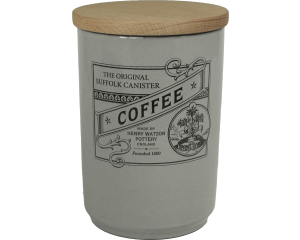 Suffolk Canister - Large Coffee Jar - Dove Grey - Made in England - 11cm x 16cm