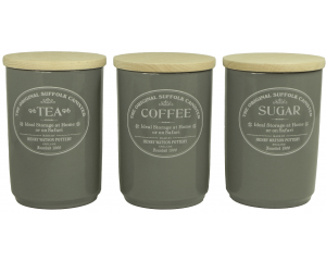 Original Suffolk Collection - Large Tea Coffee Sugar Canister Set - Slate Grey - Made in England - 11cm x 16cm