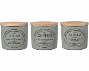 Original Suffolk Collection - Small Te Coffee Sugar Canister Set - Dove Grey - Made in England - 11cm x 11cm
