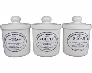 Original Suffolk Collection - Tea, Coffee & Sugar Canister Set - White - Made in England - 14cm x 18cm