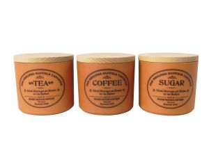 Original Suffolk Collection - Small Tea Coffee Sugar Canister Set - Terracotta - Made in England - 11cm x 11cm