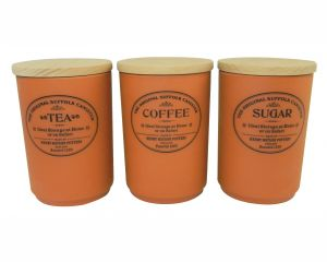 Original Suffolk Collection - Large Tea Coffee Sugar canister set - Terracotta - Made in England - 11cm x 16cm